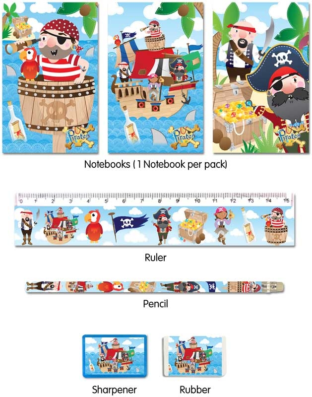 Wholesalers of 5 Pc Pirate Stationery Set toys