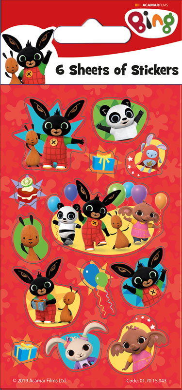 Wholesalers of Bing Party - 6 Sheets Stickers toys