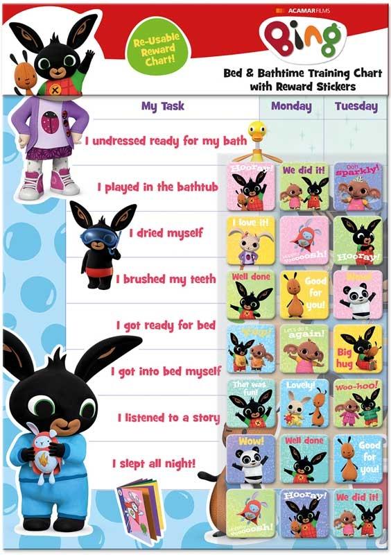 Wholesalers of Bing Bath & Bedtime Reward Chart toys