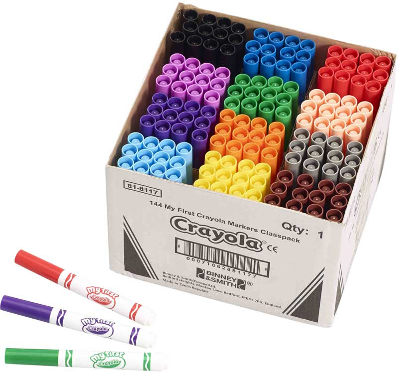 Wholesalers of Crayola 144 Assorted My First Markers Classpack toys