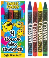 Wholesalers of Crayon Wax 4 Pc Box 8cm Smile toys image