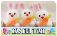 Wholesalers of Easter Bunnies White With Carrot 6cm Pk3 toys image