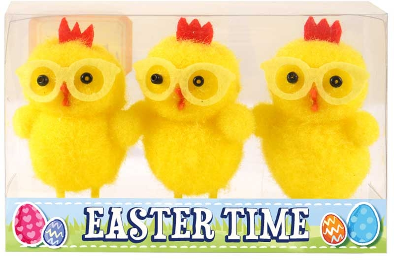 Wholesalers of Easter Chicks Yellow With Glasses 6cm Pk3 toys