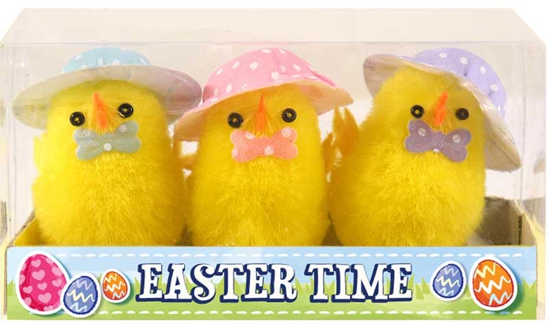 Wholesalers of Easter Chicks Yellow With Hat & Bowtie 5cm Pk3 toys