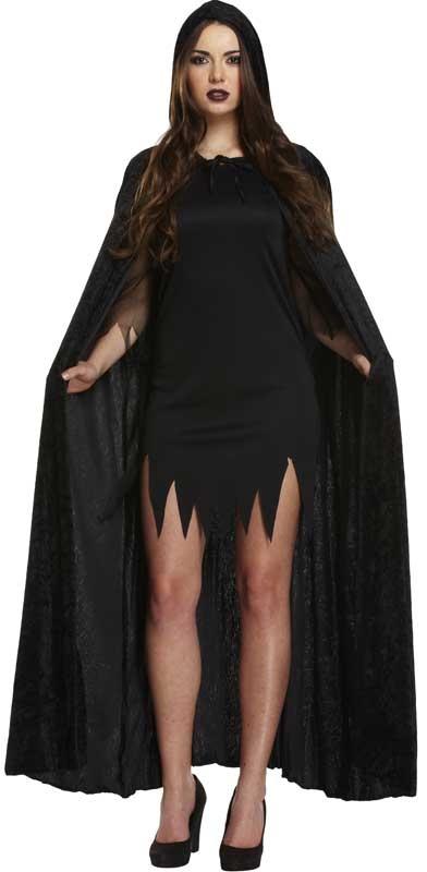 Wholesalers of Fancy Dress Adult Cape With Hood Black Velvet toys