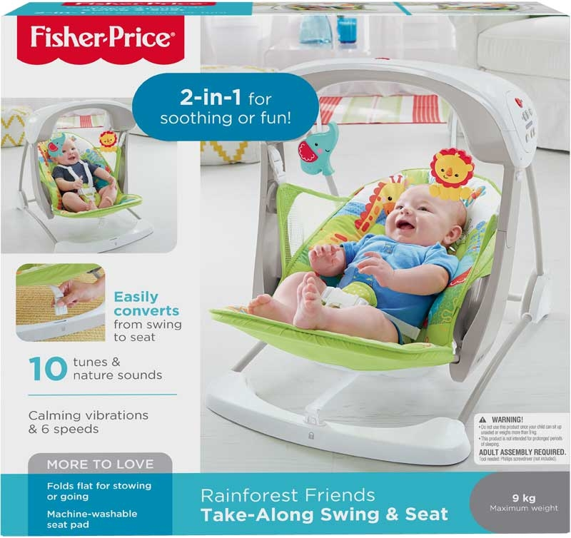 Wholesalers of Fisher-price Rainforest Friends Take-along Swing & Seat toys