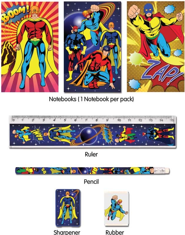 Wholesalers of Fun Stationery - Super Hero Stationery Set 5 Piece toys