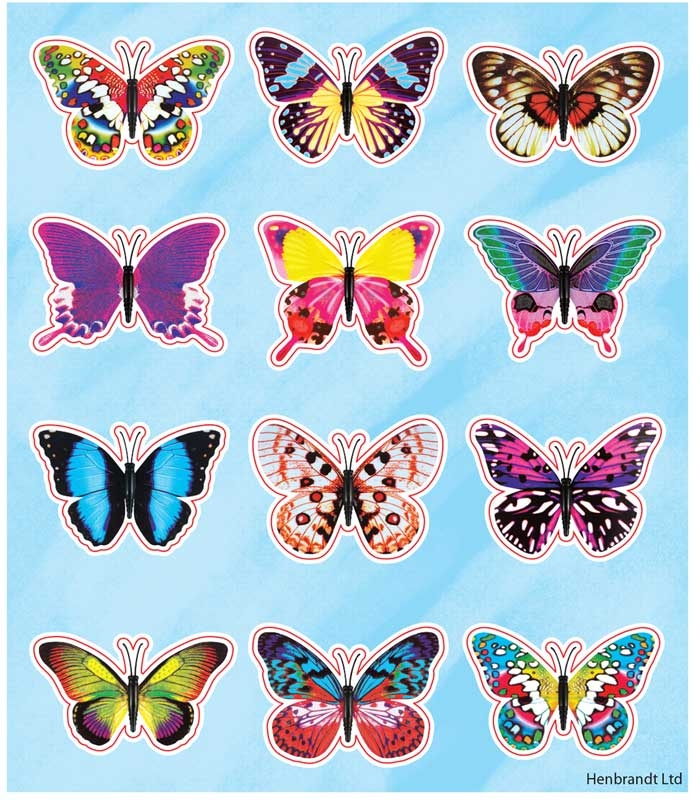 Wholesalers of Fun Stickers Stickers Butterfly 10x11.5cm 12pcs Per Card toys