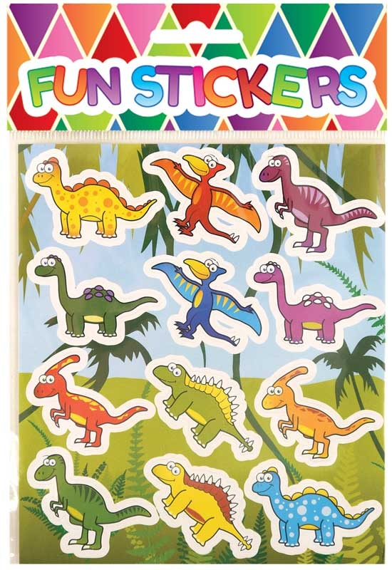 Wholesalers of Fun Stickers Stickers Dinosaur 10x11.5cm 12pcs Per Card toys