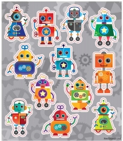Wholesalers of Fun Stickers Stickers Robots 10x11.5cm 12pcs Per Card toys image