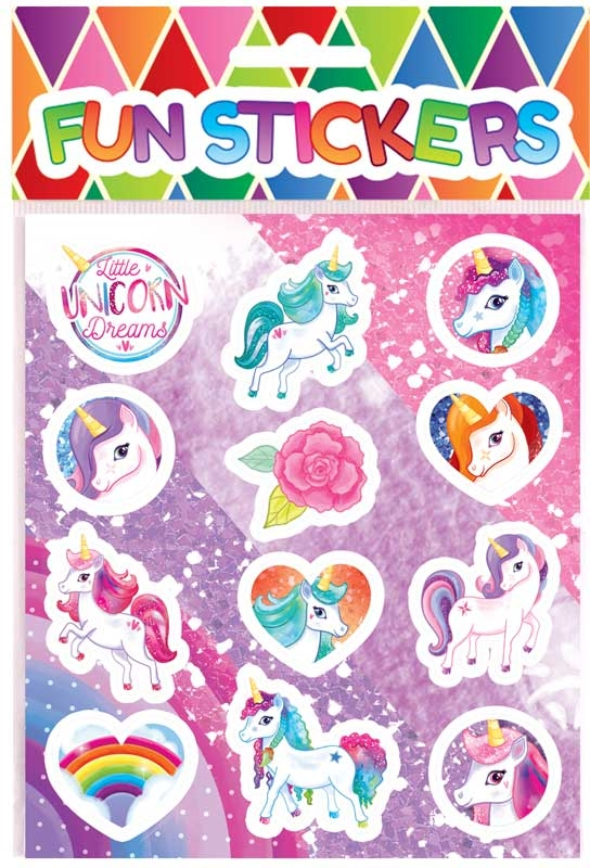 Wholesalers of Fun Stickers Stickers Unicorn 10x11.5cm 12pcs Per Card toys