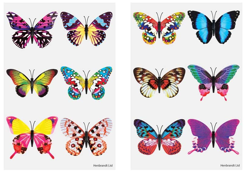 Wholesalers of Fun Tattoos Mini 4cm Butterfly 6 Pcs Per Card 2 Asst toys