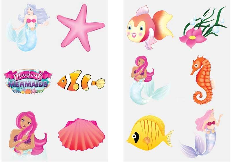 Wholesalers of Fun Tattoos Mini 4cm Mermaids 6 Pcs Per Card 2 Asst toys