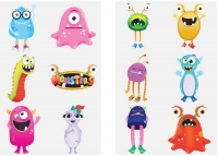 Wholesalers of Fun Tattoos Mini 4cm Monster 6 Pcs Per Card 2 Asst toys image