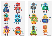 Wholesalers of Fun Tattoos Mini 4cm Robots 6 Pcs Per Card 2 Asst toys image