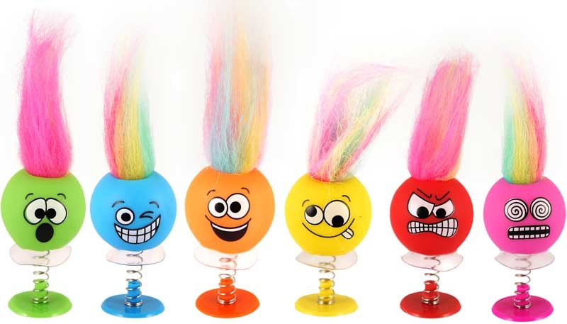 Wholesalers of Fun Toys Jump Ups Smile Faces Withhair 6cm 6 Asst toys