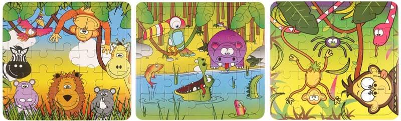 Wholesalers of Fun Toys Puzzle Jungle 13cm X 12cm 3 Asst toys