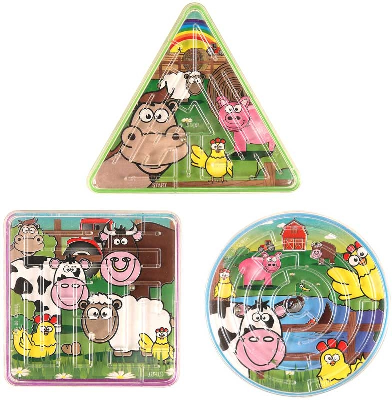 Wholesalers of Fun Toys Puzzle Maze Farm 3 Asst Shapes toys