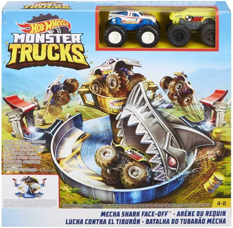 Wholesalers of Hot Wheels Monster Trucks Mecha Shark Face-off Playset toys