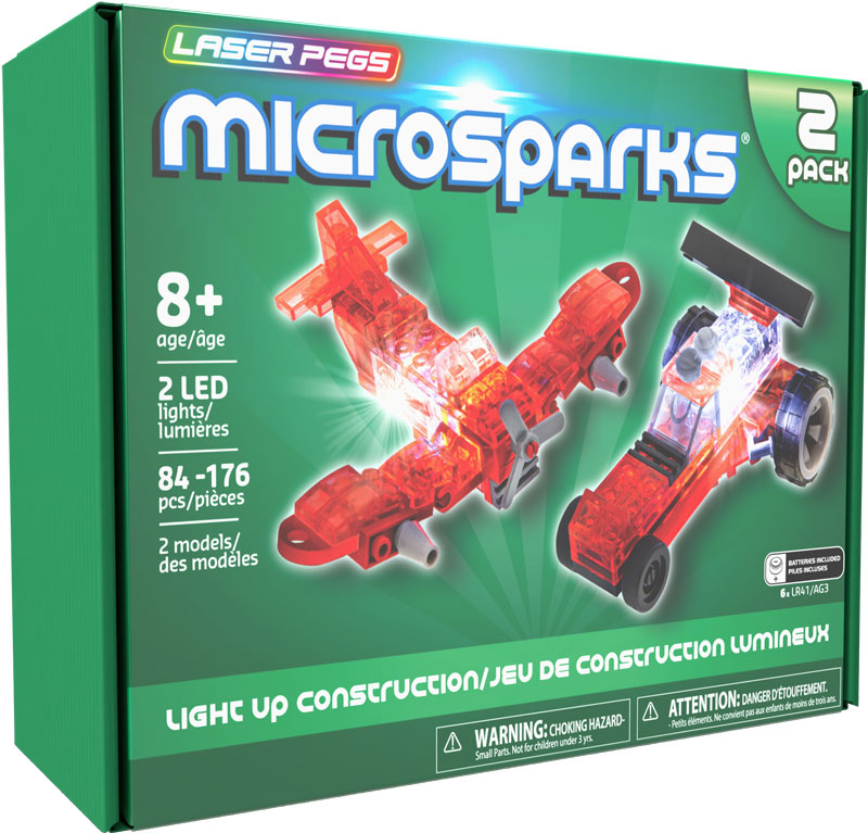 Wholesalers of Laser Pegs Microsparks Wing Fighter & Micro Dragster toys