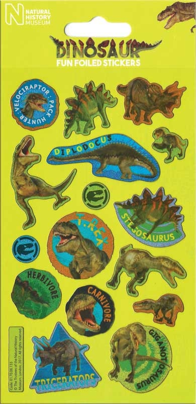 Wholesalers of Natural History Museum Dinosaurs Foil Stickers toys