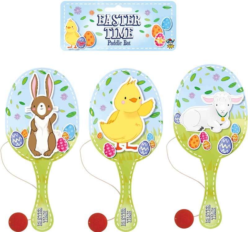 Wholesalers of Paddle Bat And Ball Easter Wooden 22cm 3 Asst toys