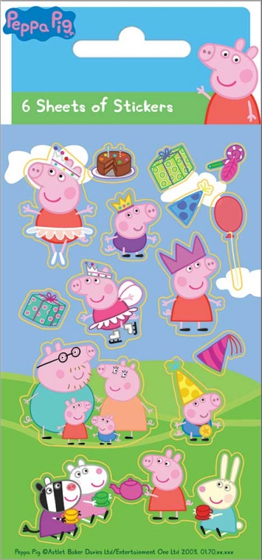 Wholesalers of Peppa Pig 6 Sheet Party Stickers toys