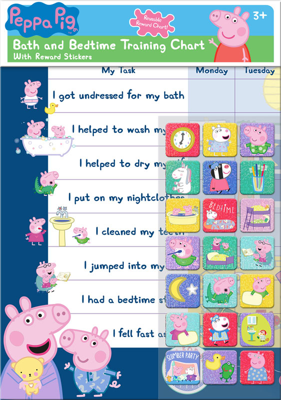 Wholesalers of Peppa Pig Bath And Bedtime Reward Chart And Stickers toys