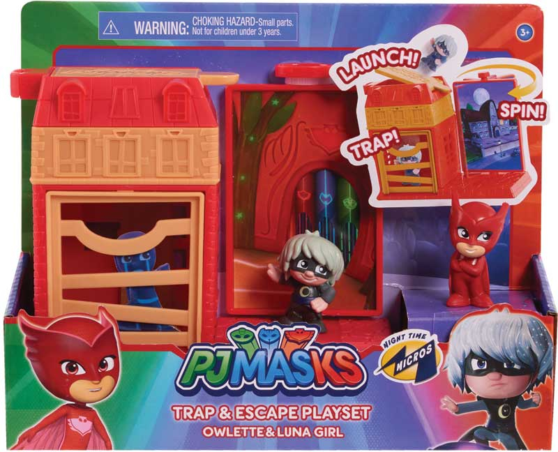 Wholesalers of Pj Masks Nighttime Micros Trap & Escape Playset - Owlette &  toys