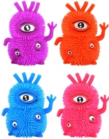 Wholesalers of Puffer Monster 3 Eyed Withlight 10cm 6 Asst Col toys image