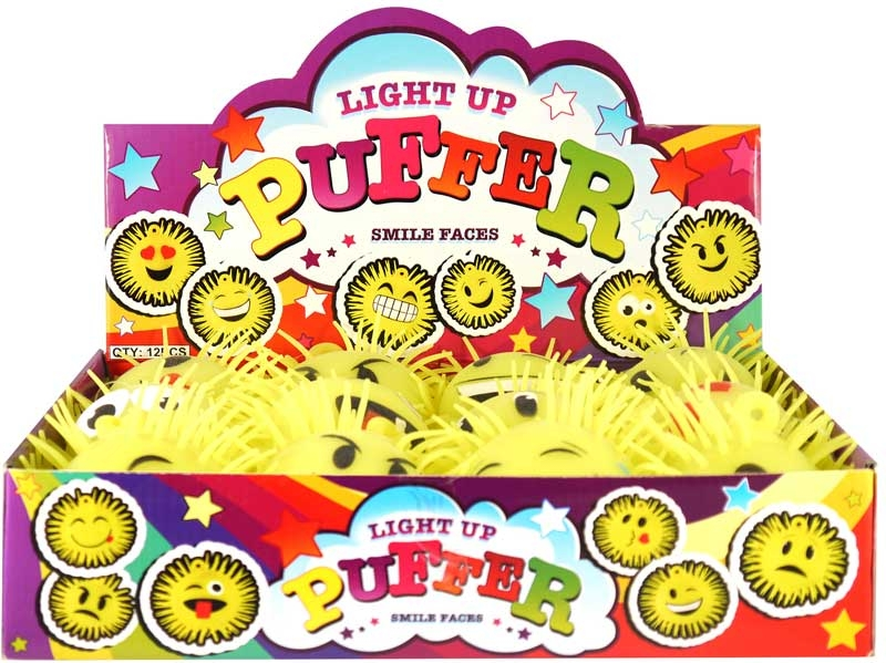 Wholesalers of Puffer Smile Face Withlight 14cm 12 Asst Design toys