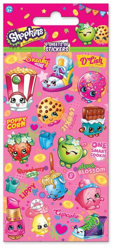 Wholesalers of Shopkins 6 Sheet Party Stickers toys