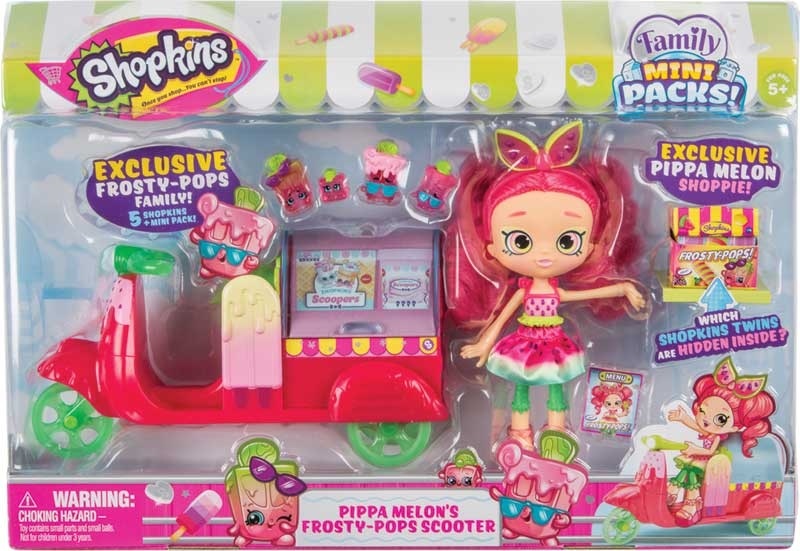 Wholesalers of Shopkins Family Mini Packs Pippa Melons Popsicle Scooter toys
