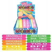 Wholesalers of Snap-on Silicone Worded Bracelets Asst toys image