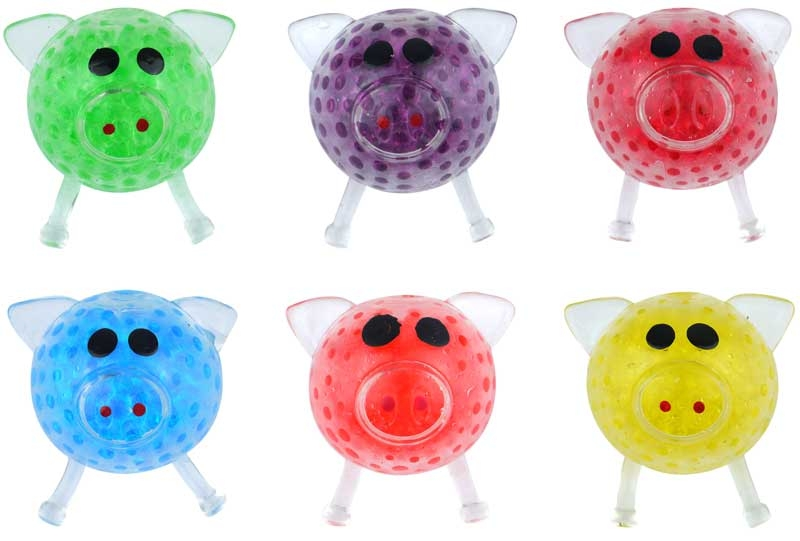 Wholesalers of Squeeze Pig With Beads 6cm toys