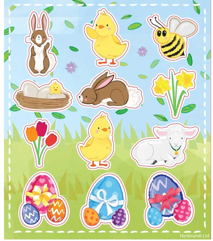 Wholesalers of Stickers Easter 10x11.5cm 12pc toys