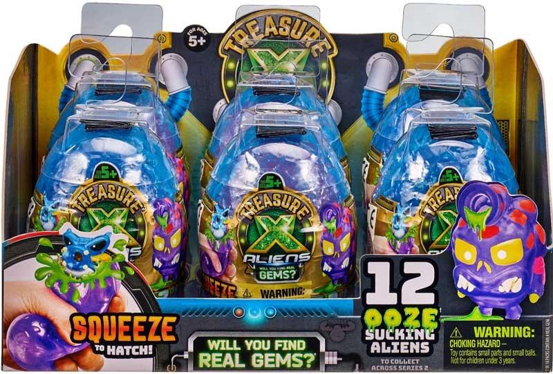 TREASURE X ALIENS GEMS OOZE EGGS FULL BOX OF 12  **NEW**